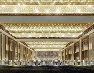酒店宴会厅3D模型3D模型下载【ID:587457】
