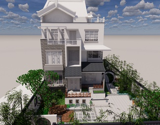 独栋别墅 庭院SU模型SU模型下载【ID:594591】