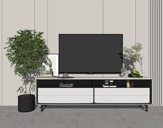 电视柜花瓶摆件植物SU模型下载【ID:603681】