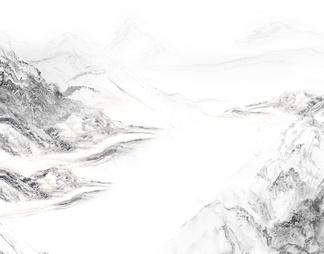 白色大理石山水画 背景墙 水墨画