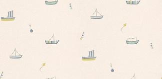 儿童房墙纸小船花纹