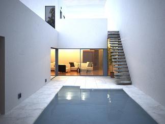 现代别墅带游泳池