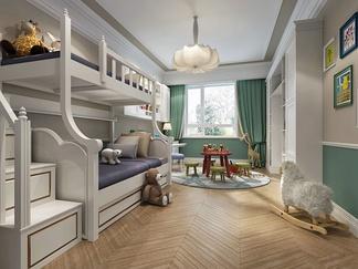 儿童房卧室别墅双人高低床儿童床