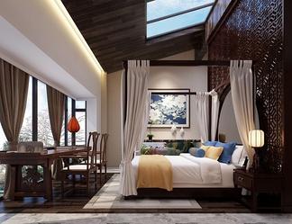 别墅斜顶中式卧室带天窗