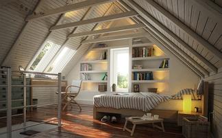 尖顶木式卧室带楼梯