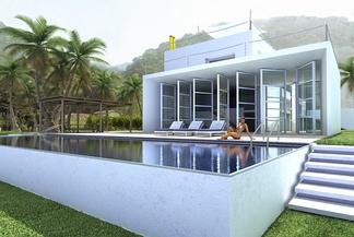 现代独栋别墅带游泳池