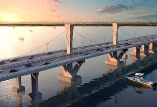 现代四车道大桥斜拉桥