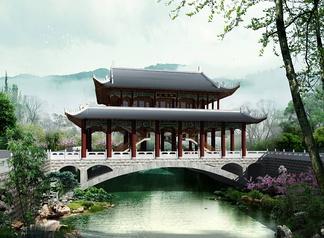 中式桥建筑风雨亭