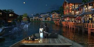 中式河边全模建筑