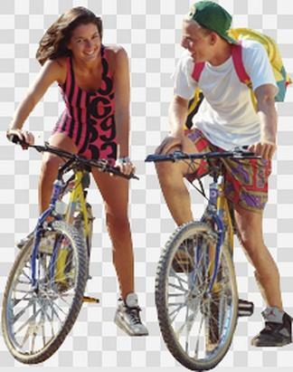 骑自行车的男女