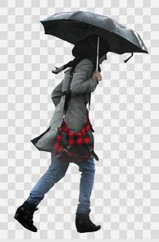 打着伞的女性