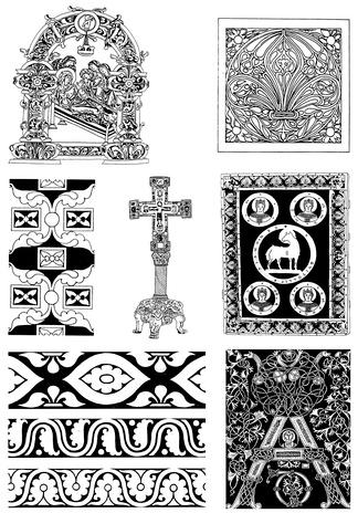 黑白贴图古典装饰花纹