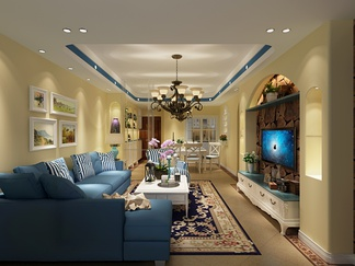 客厅空间 地中海风格