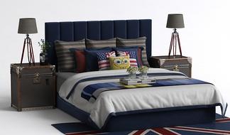 现代儿童床头柜床组合