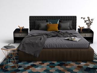 现代床头柜床组合