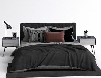 北欧床头柜床组合