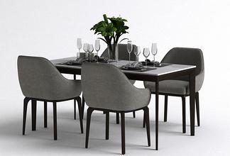 现代四人座餐桌椅组合