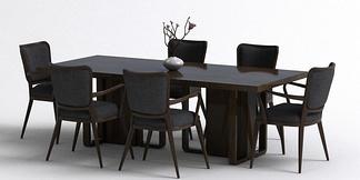 中式多人餐桌椅组合