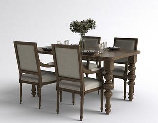 美式餐具餐桌椅组合