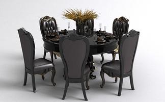 欧式圆形餐桌椅组合