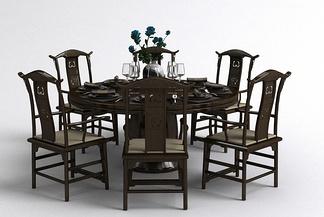 中式餐桌椅餐具组合