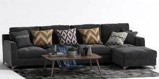 现代L型沙发茶几组合