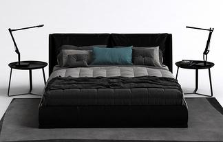 现代简约床头柜床组合