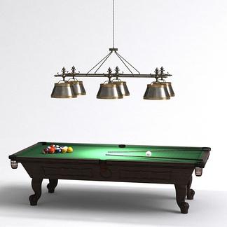 美式吊灯台球桌组合