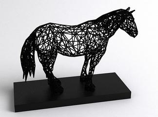 镂空小马雕塑