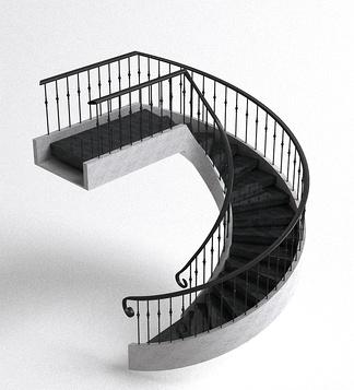 现代铁艺栏杆楼梯