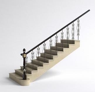 美式铁艺栏杆楼梯