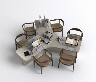 中式多人办公桌椅
