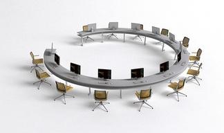 现代圆形多人办公桌椅