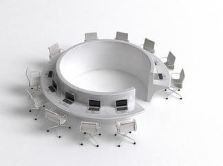 现代圆形办公桌椅