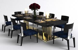 现代轻奢餐桌椅组合