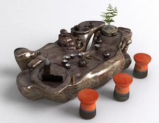 中式根雕茶桌椅