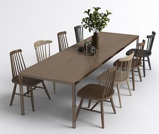 北欧长桌椅组合