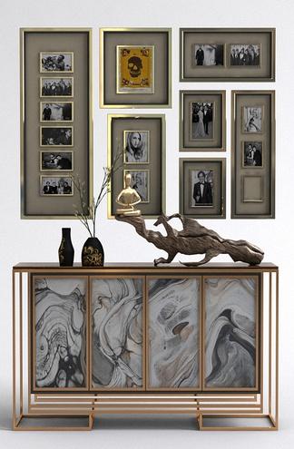 中式挂画玄关桌组合