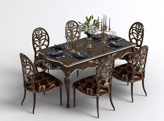 欧式雕花餐桌椅