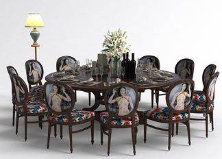 中式餐厅多人圆餐桌组合