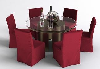 现代红椅餐桌