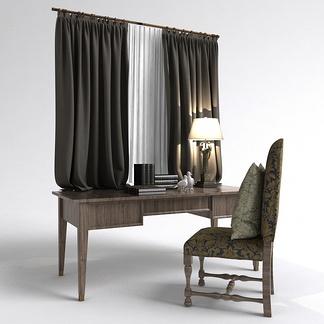 美式窗帘书桌组合