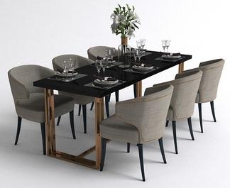 现代风格六人餐桌