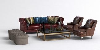 美式皮质沙发组合