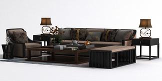 中式边几沙发组合