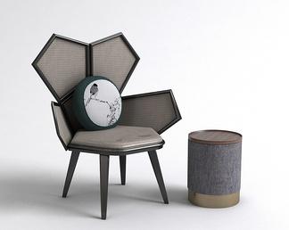 中式边几异形单椅组合