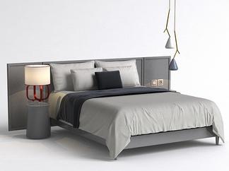 现代吊灯床组合