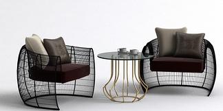 现代休闲茶几单椅组合