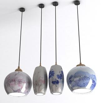 中式青花瓷吊灯组合