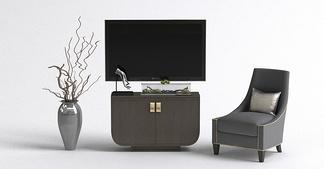 中式单椅电视柜组合
